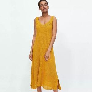 Zara Mustard Yellow Open Knit Midi Dress Medium
